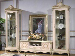 Bufet TV Putih Mewah Luxury Carving Elegant Interior Design ARF-0020