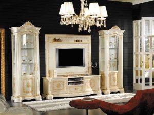 Desain Bufet TV Ukir Jepara White Ivory Luxy Carving ARF-0042