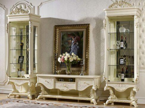 Jual Bufet TV Mewah Putih Duco Ukiran Luxury Classic ARF-0047