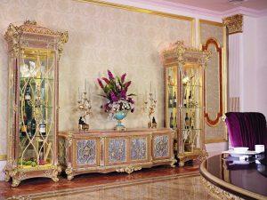 New Desain Bufet TV Mewah Art Deco Royals Carving ARF-0043